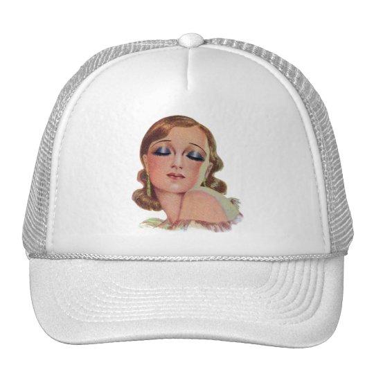 Vintage Retro Women 20s Make Up Eye Shadow Girl Trucker Hat