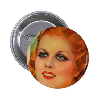 Vintage Retro Women 20s Movie Star Cover Girl Button