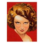 Vintage Retro Women 20s Woman's Portrait Postcard