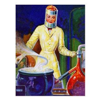 Vintage Retro Women 30s Pulp Lady Women Scientist Postcard