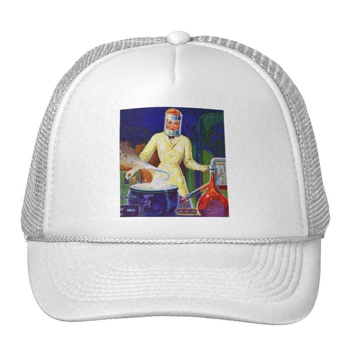 Vintage Retro Women 30s Pulp Lady Women Scientist Trucker Hat