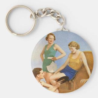 Vintage Retro Women 30s Swimwear Party Basic Round Button Keychain