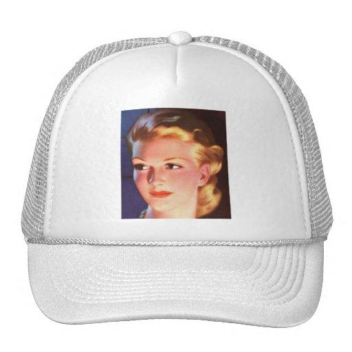 Vintage Retro Women 30s Woman's Ad Portrait Trucker Hat