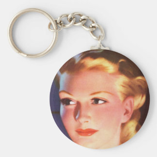 Vintage Retro Women 30s Woman's Ad Portrait Keychain