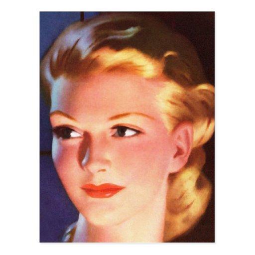 Vintage Retro Women 30s Woman's Ad Portrait Postcard