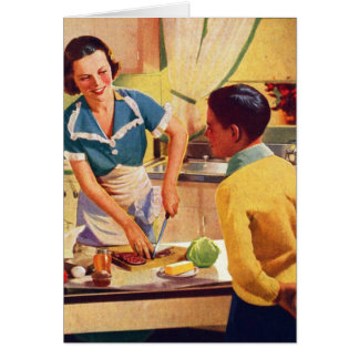 Vintage Retro Women 40s Donut Deception Lunch Mom Card