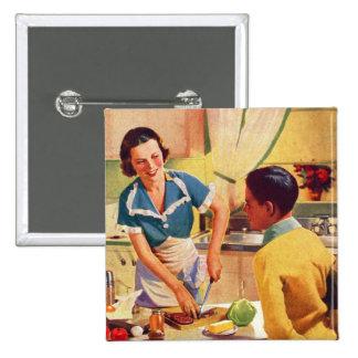 Vintage Retro Women 40s Donut Deception Lunch Mom Pinback Button