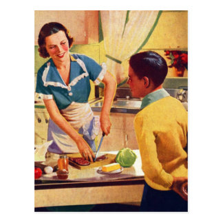 Vintage Retro Women 40s Donut Deception Lunch Mom Postcard
