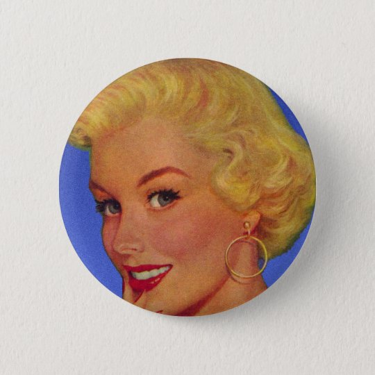 Vintage Retro Women 40s Housewife My House Button