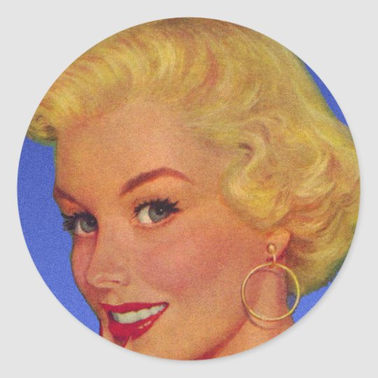 Vintage Retro Women 40s Housewife My House Classic Round Sticker
