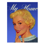 Vintage Retro Women 40s Housewife My House Postcards