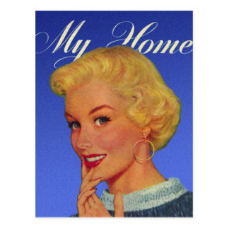 Vintage Retro Women 40s Housewife My House Postcard