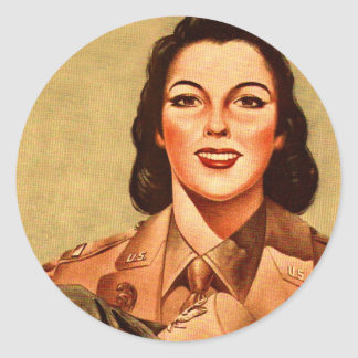 Vintage Retro Women 40s Military Woman WAAC Classic Round Sticker