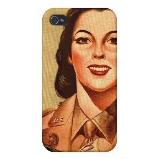 Vintage Retro Women 40s Military Woman WAAC iPhone 4 Covers