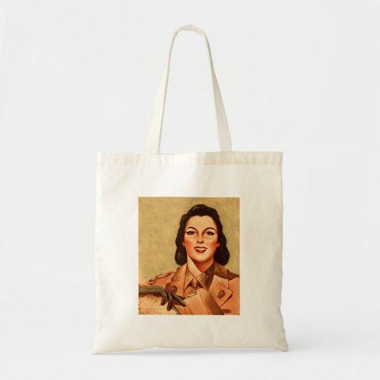 Vintage Retro Women 40s Military Woman WAAC Tote Bag