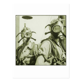 Vintage Retro Women 40s WW2 Military Gas Masks Postcard