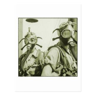 Vintage Retro Women 40s WW2 Military Gas Masks Postcard