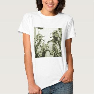 Vintage Retro Women 40s WW2 Military Gas Masks Shirt