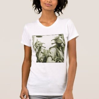 Vintage Retro Women 40s WW2 Military Gas Masks Tee Shirt
