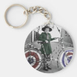 Vintage Retro Women 4th of July Girl Scout & Bike Basic Round Button Keychain