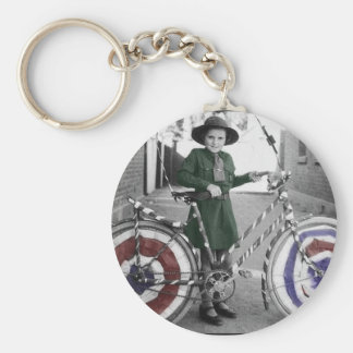 Vintage Retro Women 4th of July Girl Scout & Bike Keychain