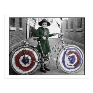 Vintage Retro Women 4th of July Girl Scout & Bike Postcard