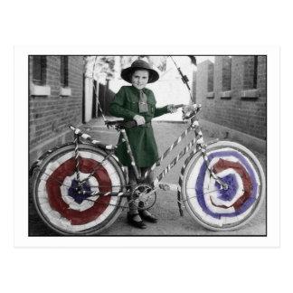Vintage Retro Women 4th of July Girl Scout & Bike Postcard