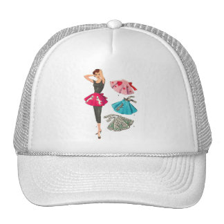 Vintage Retro Women 50s Fashion Poodle Skirt Apron Trucker Hat