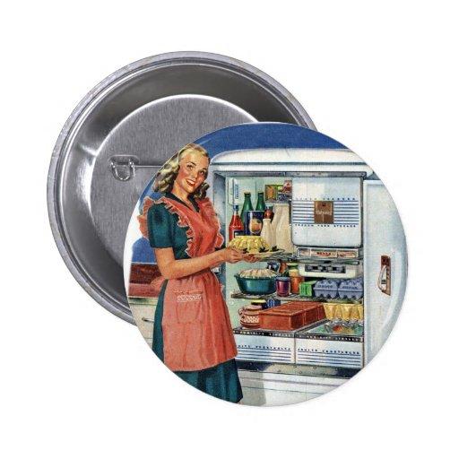 Vintage Retro Women 50s Kitchen Full Refrigerator 2 Inch Round Button