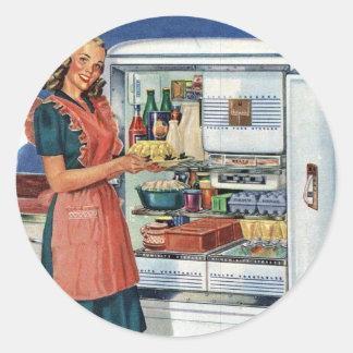 Vintage Retro Women 50s Kitchen Full Refrigerator Classic Round Sticker