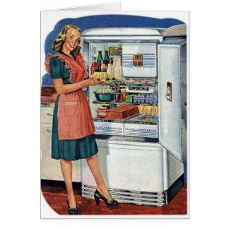 Vintage Retro Women 50s Kitchen Full Refrigerator Greeting Card