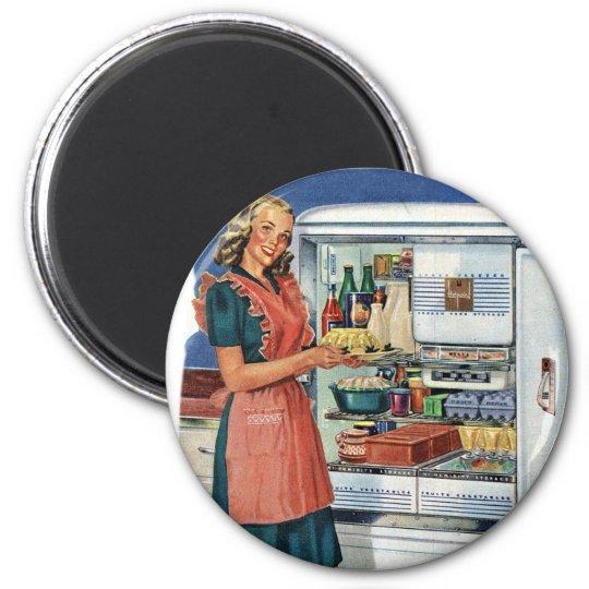 Vintage Retro Women 50s Kitchen Full Refrigerator Magnet