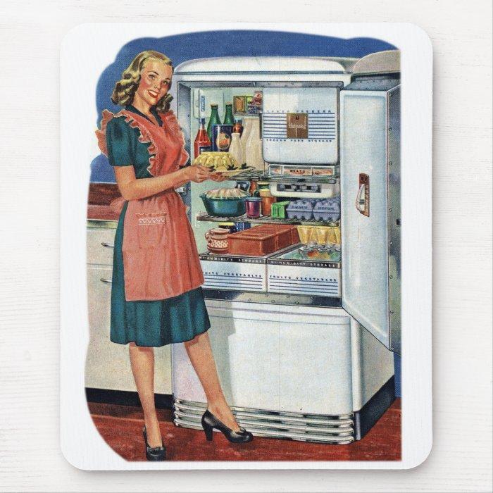 Vintage Retro Women 50s Kitchen Full Refrigerator Mouse Pad