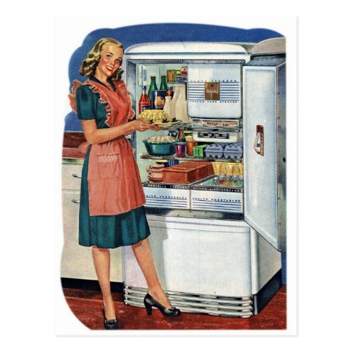 Vintage Retro Women 50s Kitchen Full Refrigerator Postcard