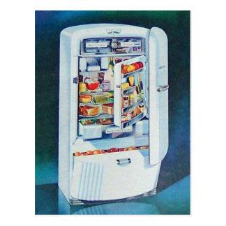 Vintage Retro Women 50s Kitchen Refrigerator Postcard