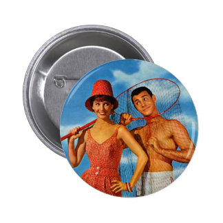 Vintage Retro Women 60s Dating Caught Um' Girl Buttons