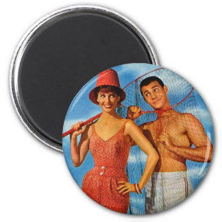 Vintage Retro Women 60s Dating Caught Um' Girl Magnet