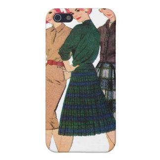 Vintage Retro Women 60s Fashion Plaid Tartan Gals Cover For iPhone SE/5/5s