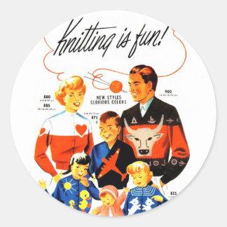 Vintage Retro Women 60s Knitting is Fun! Classic Round Sticker