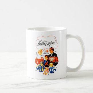 Vintage Retro Women 60s Knitting is Fun! Coffee Mug