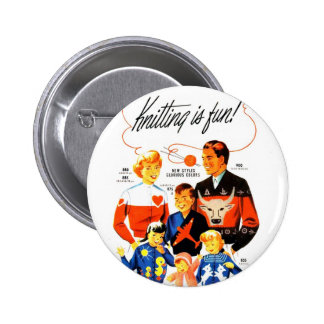 Vintage Retro Women 60s Knitting is Fun! Pinback Button