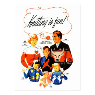 Vintage Retro Women 60s Knitting is Fun! Post Card