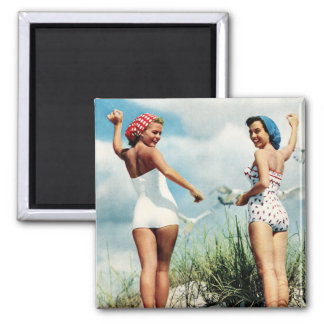 Vintage Retro Women 60s Surfing Beach Girls 2 Inch Square Magnet