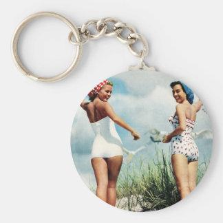 Vintage Retro Women 60s Surfing Beach Girls Basic Round Button Keychain