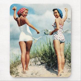 Vintage Retro Women 60s Surfing Beach Girls Mouse Pad