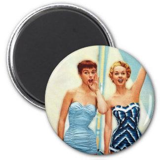 Vintage Retro Women 60s Swimwear Surfs Up! 2 Inch Round Magnet