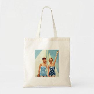 Vintage Retro Women 60s Swimwear Surfs Up! Budget Tote Bag