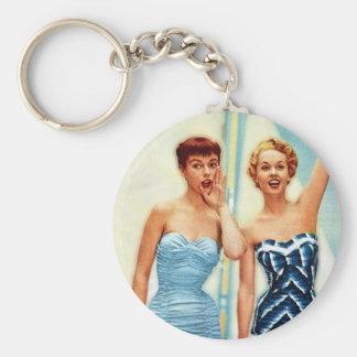 Vintage Retro Women 60s Swimwear Surfs Up! Basic Round Button Keychain