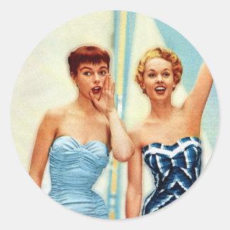 Vintage Retro Women 60s Swimwear Surfs Up! Classic Round Sticker