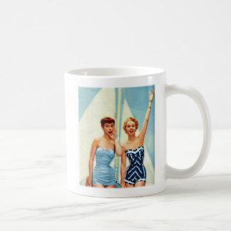 Vintage Retro Women 60s Swimwear Surfs Up! Classic White Coffee Mug